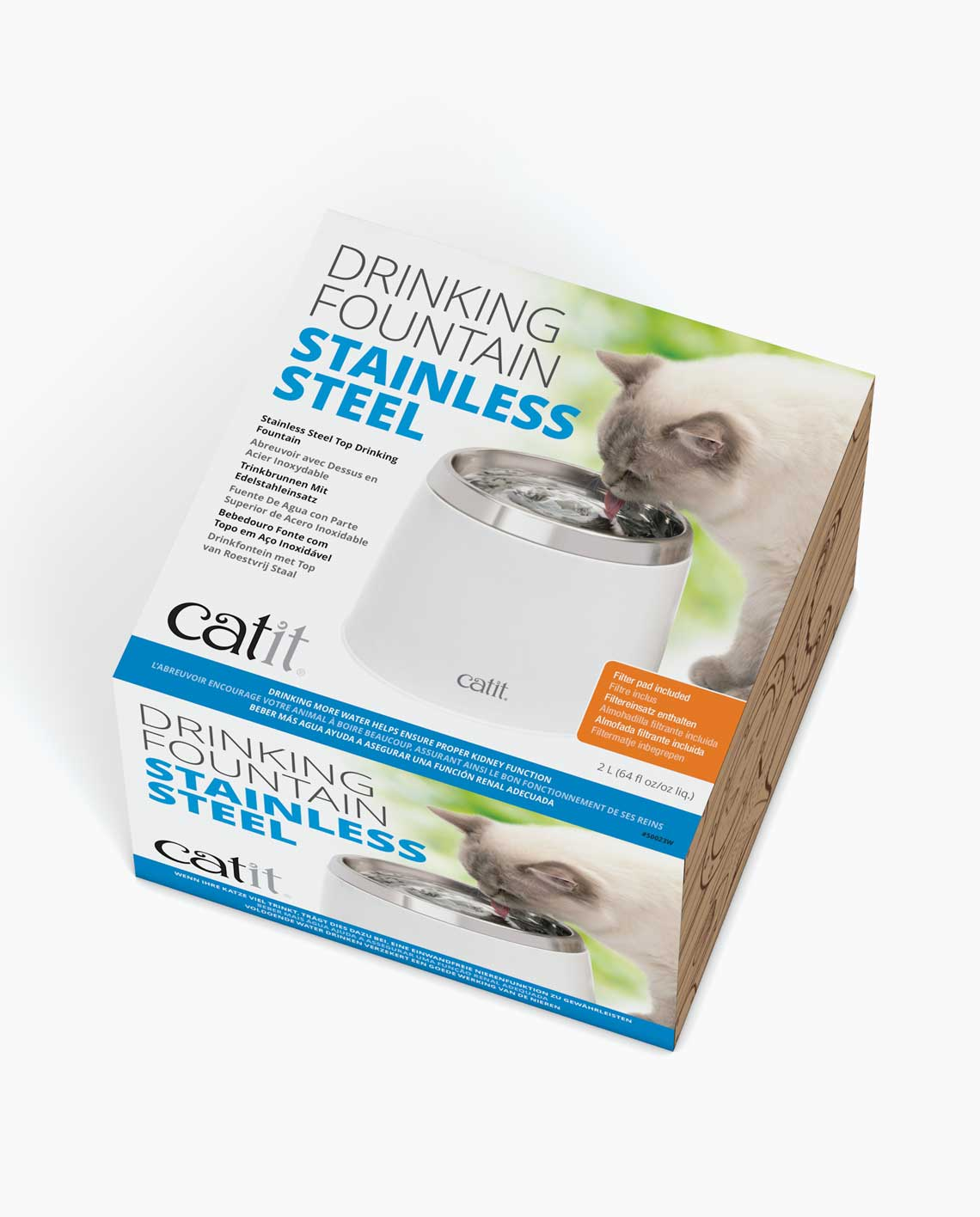 Catit Fresh Clear Stainless Steel Top Drinking Fountain 64oz Ebay